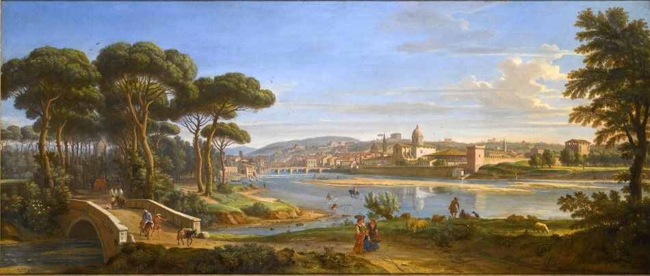 Caspar van Wittel – private collection.  Title: Florence. A View of the City From the Right Bank of the River Arno Looking Towards the Ponte Alla Carraia. Date: c. 1700. Materials: oil on canvas. Dimensions: 71 x 170 cm. Auctioned by Sotheby's in London, on December 9, 2015. Source: http://www.sothebys.com/content/dam/stb/lots/L15/L15036/4043M09_6JQB9_in_new_frame.jpg. I have changed contrast of the original photo.