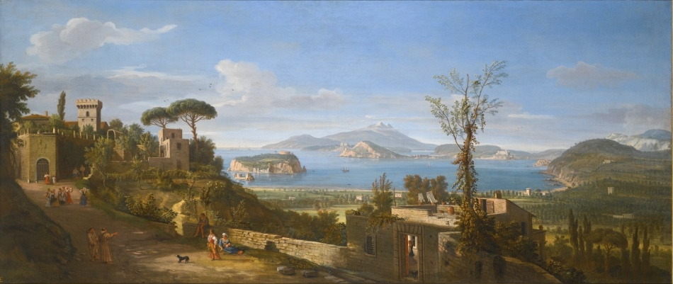 Caspar van Wittel – private collection. Title: A View of the Bay of Pozzuoli, Near Naples, Taken from the East, Looking Towards the Port of Baia, With the Islands of Nisida, Procida and Ischia. Date: c. 1700. Materials: oil on canvas	. Dimensions: 71 x 170 cm. Source: http://www.sothebys.com/content/dam/stb/lots/L15/L15036/4044M09_6JQBB_in_new_frame.jpg. I have changed the light of the original photo.