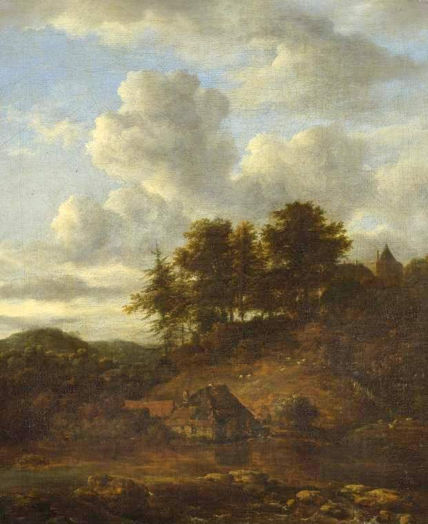 Jacob van Ruisdael – The Fitzwilliam Museum 75. Title: Landscape with River and Pines. Date: c. 1650-1680. Materials: oil on canvas	. Dimensions: 66.3 x 53.7 cm. Nr.: 75. Source: http://www-img.fitzmuseum.cam.ac.uk/img/pdp/pdp3/75.jpg. I have changed the light of the original photo.