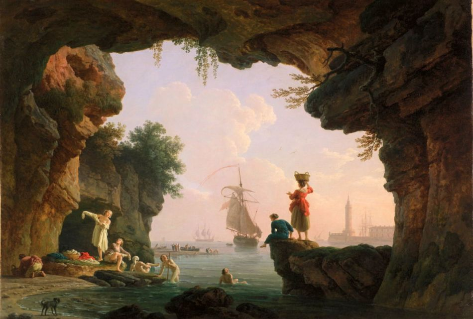 Claude-Joseph Vernet – Legion of Honor. Fine Arts Museums of San Francisco 76.29.  Title: The Bathers (Les Baigneuses). Date: c. 1786. Materials: oil on canvas. Dimensions: 57.2 x 82.6 cm. Acquisition date: 1975. Nr.: 76.29. Source: http://art.famsf.org/claude-joseph-vernet/bathers-les-baigneuses-7629. I have changed the light, contrast and colors of the original photo.