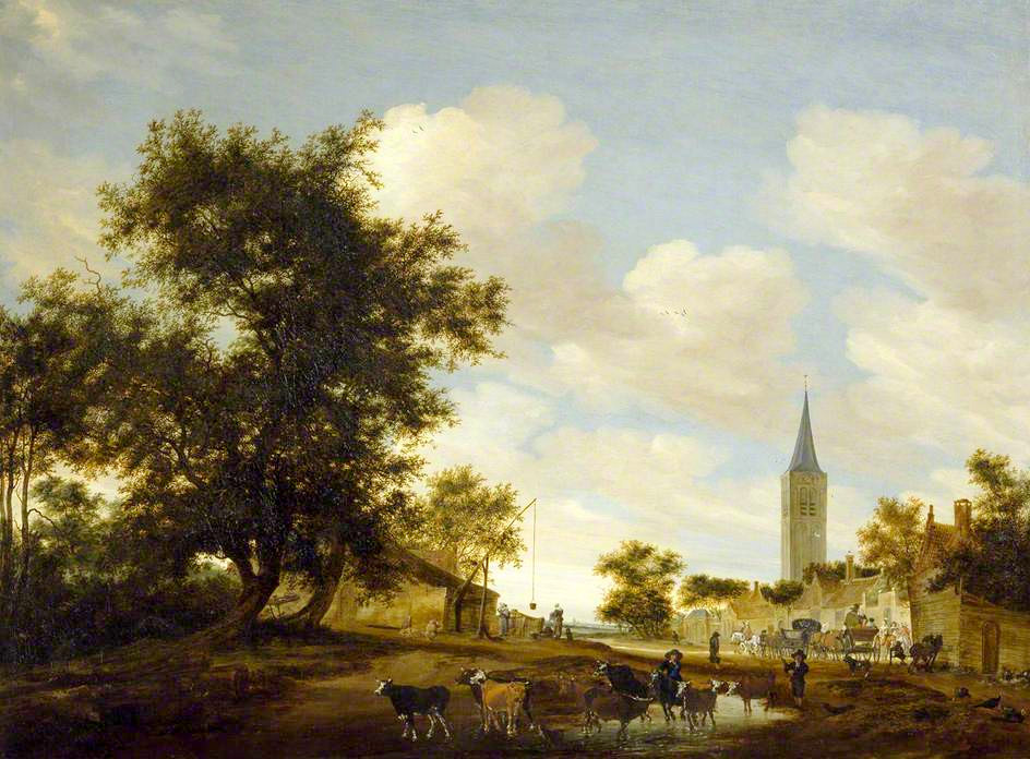 Salomon van Ruysdael – The Ashmolean Museum A1065.  Title: A Draw-Well with Cattle before Beverwijck Church. Date: 1657. Materials: oil on canvas. Dimensions: 112 x 150 cm. Inscriptions: SVR (in monogram) 1657. Nr.: A1065. Source: http://ichef.bbci.co.uk/arts/yourpaintings/images/paintings/ashm/large/ash_ashm_wa1972_8_large.jpg. I have changed the light and contrast of the original photo.