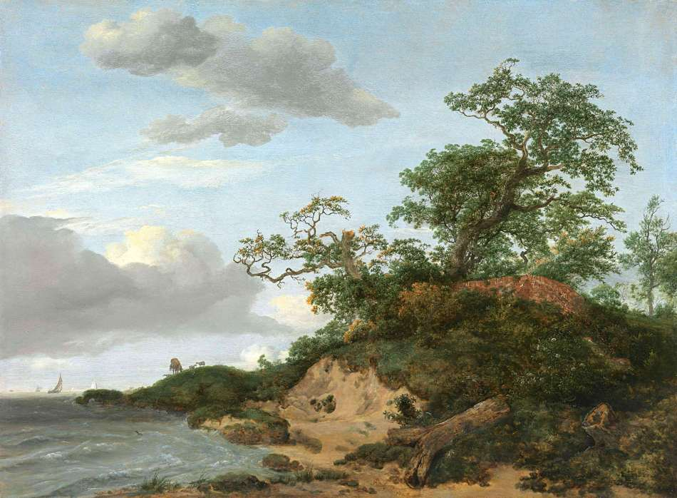 Jacob van Ruisdael – Richard Green Gallery.  Title: Dunes by the sea. Date: 1648. Materials: oil on panel. Dimensions: 45.4 x 61.6 cm. Source: http://asimg.artsolution.net/tsmedia/GreenMedia/BM5.jpg?qlt=60&cell=3000,3000&cvt=jpg. I have changed the contrast of the original photo.