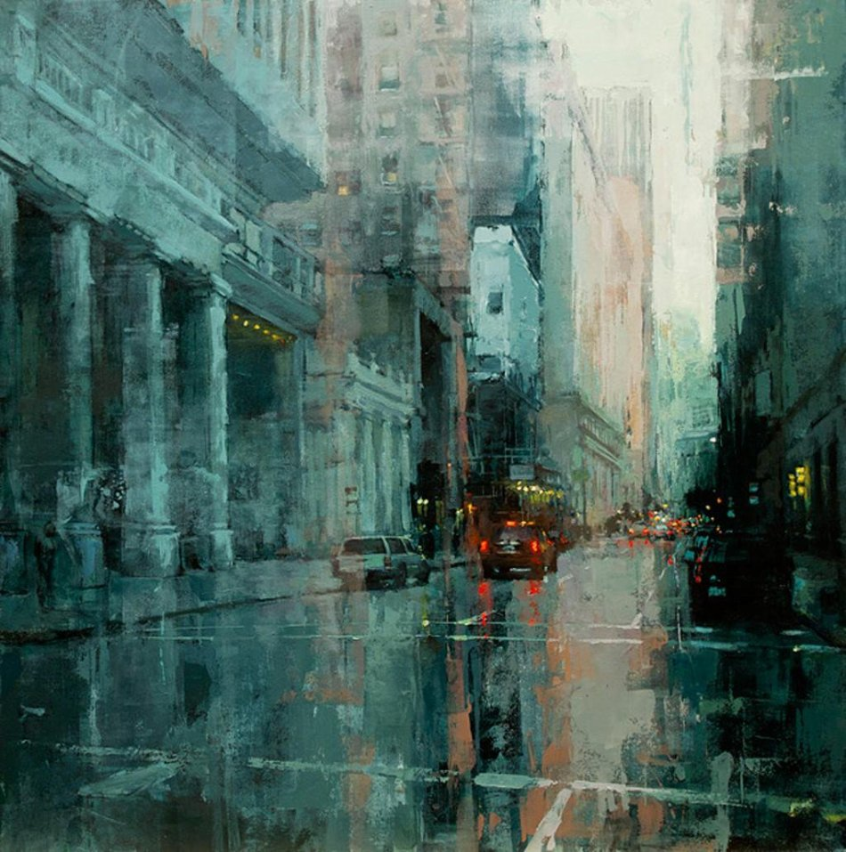 Jeremy Mann – private collection. Title: Down The Montgomery. Date: 2011. Materials: oil on panel. Dimensions: unknown. Source: https://pbs.twimg.com/media/CFtzKuNW8AA66qL.jpg:largeI have changed the light, contrast and colors of the original photo.