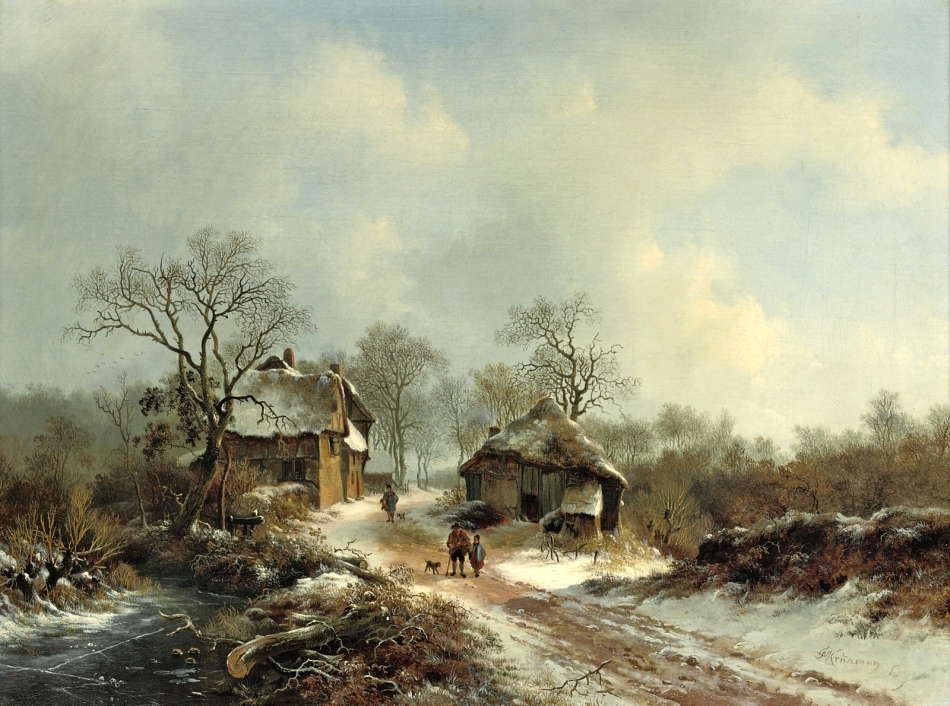 Frederik Marinus Kruseman – private collection. Title: Villagers on a Snow-Covered Path. Date: c. 1850-1880. Materials: oil on canvas	. Dimensions: 42 x 56 cm. Source: http://1.bp.blogspot.com/-ua3M11592HA/VoM25C93b0I/AAAAAAAA3ho/ii9Kv3cBJjI/s1600/%25D0%25A1%25D0%25B5%25D0%25BB%25D1%258C%25D1%2587%25D0%25B0%25D0%25BD%25D0%25B5%2B%25D0%25BD%25D0%25B0%2B%25D1%2581%25D0%25BD%25D0%25B5%25D0%25B6%25D0%25BD%25D0%25BE%25D0%25B9%2B%25D0%25B4%25D0%25BE%25D1%2580%25D0%25BE%25D0%25B3%25D0%25B5%2B%2528Villagers%2Bon%2Ba%2Bsnow-covered%2Bpath%2529_42%2Bx%2B56_%25D1%2585.%252C%25D0%25BC._%25D0%25A7%25D0%25B0%25D1%2581%25D1%2582%25D0%25BD%25D0%25BE%25D0%25B5%2B%25D1%2581%25D0%25BE%25D0%25B1%25D1%2580%25D0%25B0%25D0%25BD%25D0%25B8%25D0%25B5.jpg. I have changed the contrast of the original photo.