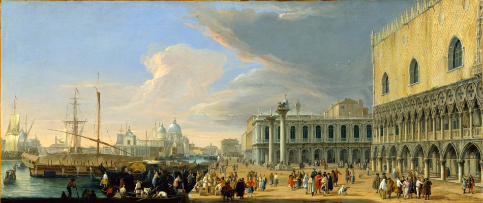 Luca Carlevarijs – The Metropolitan Museum of Art 1975.1.90.  Title: The Molo, Venice, Looking West. Date: c. 1709. Materials: oil on canvas. Dimensions: 50.5 x 119.7 cm. Nr.: 1975.1.90. Source: http://images.metmuseum.org/CRDImages/rl/original/DT3064.jpg/. I have changed the contrast of the original photo.