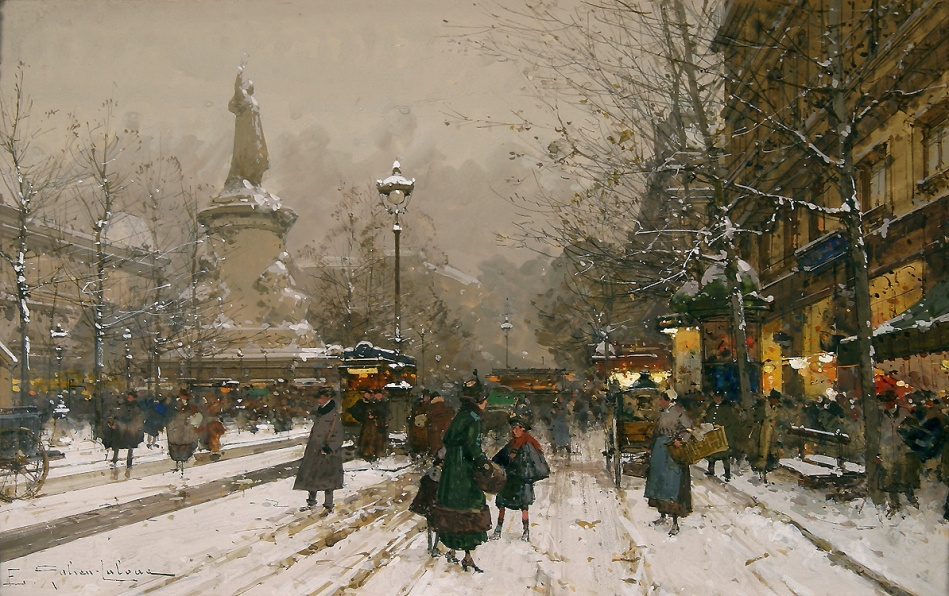 Eugène Galien-Laloue – Rehs Galleries.  Title: Place de la République in Winter. Date: c. 1890-1910. Materials: gouache on paper. Dimensions: 19 x 31.7 cm. Inscriptions: E. Galien-Laloue. Source: http://www.rehsgalleries.com/catalogimages/eugene_galien_laloue_b1144_place_de_la_republique_in_winter.jpg. I have changed the contrast colors of the original photo.