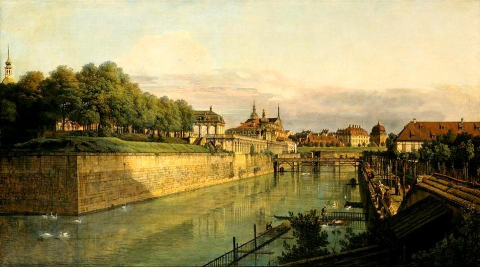 Bernardo Bellotto – Staatliche Kunstsammlungen Dresden Gal.-Nr. 609.  Title: Der Zwingergraben in Dresden. Date: 1751-1752. Materials: oil on canvas. Dimensions: 133 x 235 cm. Nr.: Gal.-Nr. 609. Source: http://skd-online-collection.skd.museum/imagescreate/image.php?id=187392&type=gross. I have changed the light and contrast of the original photo.