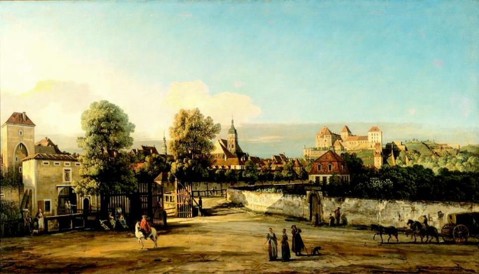 Bernardo Bellotto – Staatliche Kunstsammlungen Dresden Gal.-Nr. 621. Title Pirna mit dem Dohnaischen Tor. Date: 1754-1755. Materials: oil on canvas. Dimensions: 135 x 235 cm. Nr Gal.-Nr.: 621. Source: http://skd-online-collection.skd.museum/de/contents/showSearch?id=188475. I have changed the light, contrast and colors of the original photo.