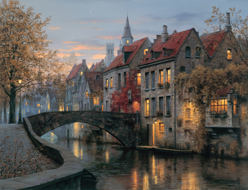 Evgeny Lushpin – collection of the artist.  Title: Silent Evening. Date: 2014. Materials: oil on canvas. Dimensions: 66 x 86.4 cm. Source: http://lushpin.com/works/47.