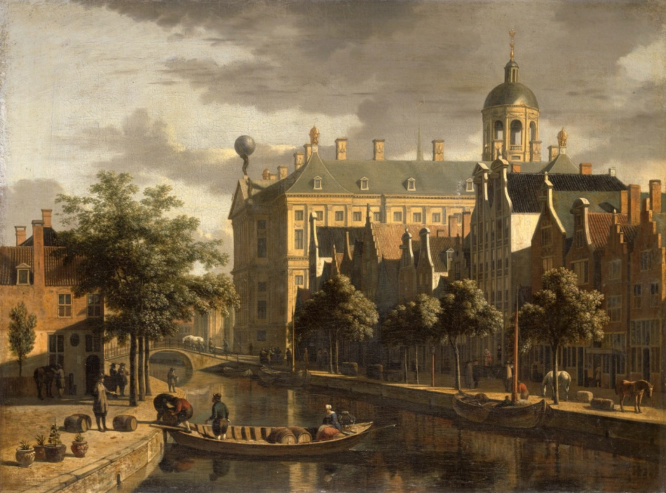 Gerrit Berckheyde – Amsterdam Museum SA 7455.  Title: De Bloemmarkt. Date: c. 1860-1880. Materials: oil on canvas. Dimensions: 45 x 61 cm. Acquisition date: 1854. Nr.: SA 7455. Source: https://commons.wikimedia.org/wiki/File:SA_7455-De_Bloemmarkt.jpg. I have changed the contrast and colors of the original photo.