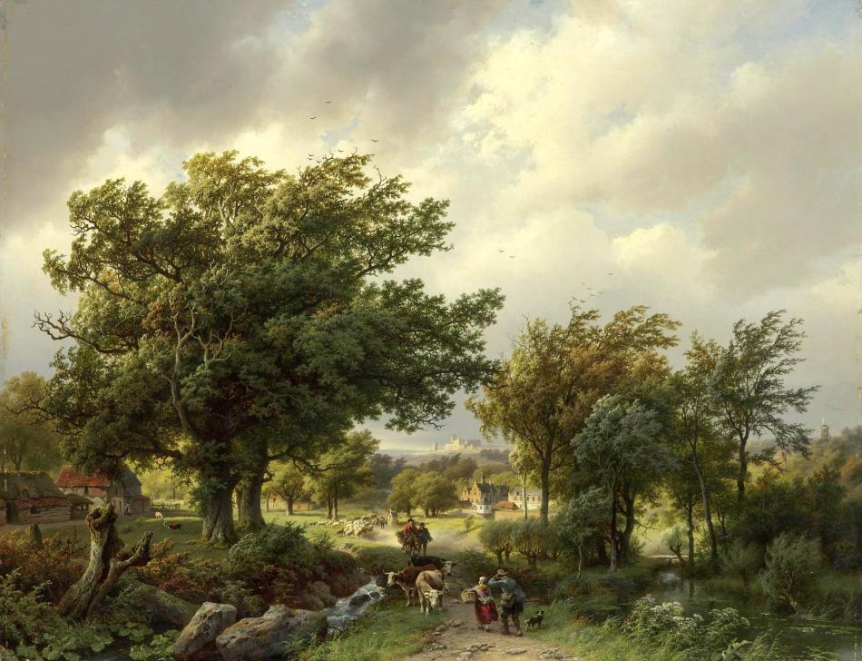 Barend Cornelis Koekkoek – The Hermitage Museum ГЭ-6218.  Title: Road among Trees. Date: 1854. Materials: oil on panel. Dimensions: 61.5 x 79.5 cm. Source: http://www.hermitagemuseum.org/wps/portal/hermitage/digital-collection/01.+Paintings/30482/?lng=en. I have changed the light and contrast of the original photo.