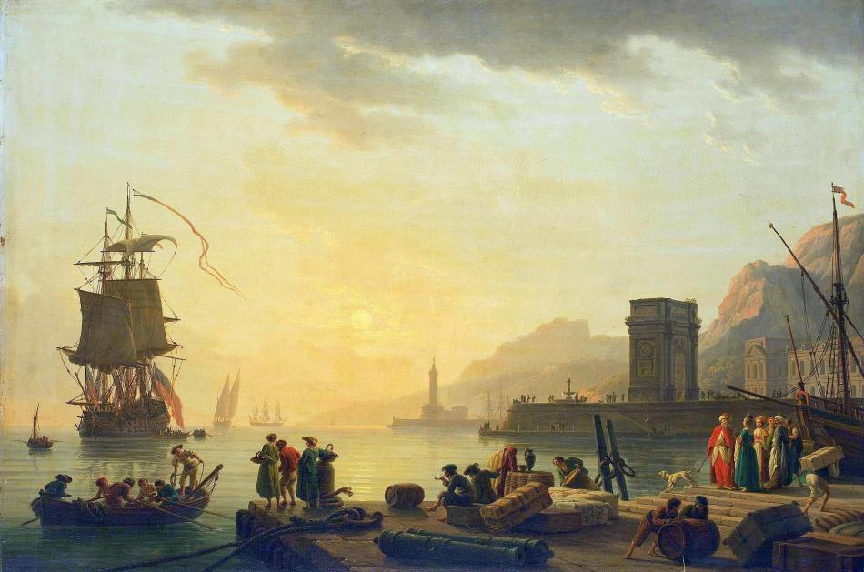 Claude-Joseph Vernet – The Hermitage Museum ГЭ-1756.  Title: Ancona Harbour. Date: c. 1775-1780. Materials: oil on canvas. Dimensions: 87.5 x 131 cm. Nr.: ГЭ-1756. Source: https://www.hermitagemuseum.org/wps/portal/hermitage/digital-collection/01.+Paintings/37279/?lng=en. I have changed the light, contrast and colors of the original photo.