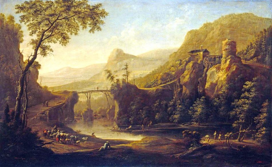 Johann Friedrich Alexander Thiele – The Hermitage Museum ГЭ-2532.  Title: Landscape with a River and a Bridge. Date: first half of the 18th c. Materials: oil on canvas. Dimensions: 64 x 105 cm. Acquisition date: 1926. Nr.: ГЭ-2532. Source: http://www.hermitagemuseum.org/wps/portal/hermitage/digital-collection/01.+Paintings/38723/?lng=en. I have changed the light, contrast and colors of the original photo.