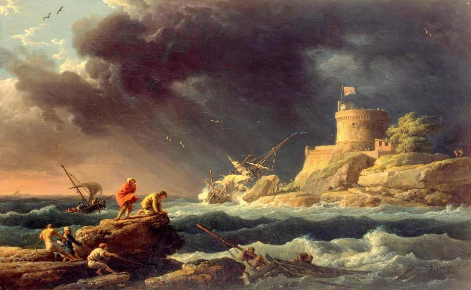 Claude-Joseph Vernet – The Hermitage Museum ГЭ-1164. Title: Storm. Date: 1765. Materials: oil on canvas	. Dimensions: 42.5 x 67.7 cm. Source: https://www.hermitagemuseum.org/wps/portal/hermitage/digital-collection/01.+Paintings/37263/?lng=en. I have changed the light, contrast and colors of the original photo