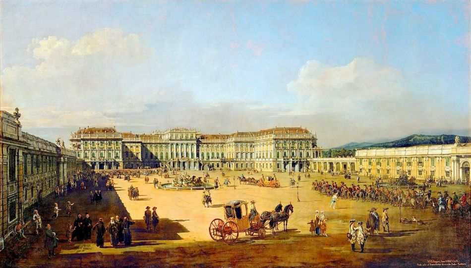 Bernardo Bellotto – Kunsthistorisches Museum Inv.-Nr. GG_1666. Title: Das kaiserliche Lustschloß Schönbrunn, Ehrenhofseite. Date: 1759/1761. Materials: oil on canvas. Dimensions: 135 x 235 cm. Inscriptions: XVI. Augusti. Anno M.D.C.C.LIX Prusso caeso ad Francofurtum ab exercitu Russo-Austriaco (lower right). Nr.: Inv.-Nr. GG_1666. Source: https://commons.wikimedia.org/wiki/File:Canaletto_(I)_059.jpg. I have changed the light and contrast of the original photo.