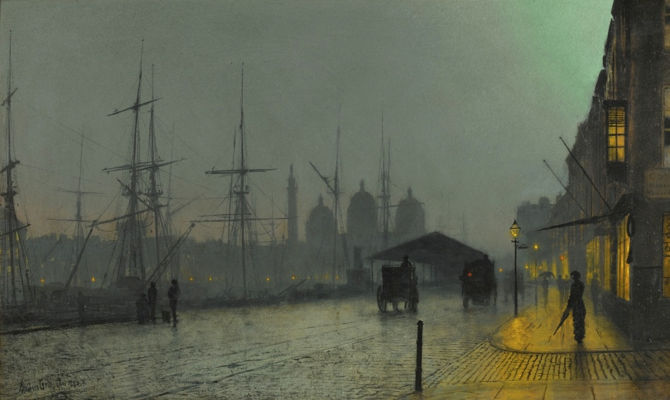 John Atkinson Grimshaw – private collection. Title: Prince's Dock, Hull. Date: 1882. Materials: oil on board. Dimensions: 32.5 x 51 cm. Sold by Sotheby's in London, on July 15, 2015. Source: http://www.sothebys.com/content/dam/stb/lots/L15/L15132/189L15132_8556L.jpgl. I have changed the light and contrast of the original photo.