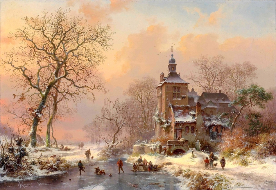 Frederik Marinus Kruseman – private collection. Title: Winter Landscape with Skaters on a Frozen River. Date: 1873. Materials: oil on canvas. Dimensions: 45.4 x 65.4 cm. Inscriptions: FM Kruseman./1873.fc. (lower left); le soussigné declare avoir peint/le tableau ci-contre original et sans/reproduction/Bruxelles 1873./FM Kruseman (on the reverse). Sold by Christie's in London, on December 15, 2015. Source: http://vechnost7.blogspot.ro/2015/12/frederik-marinus-kruseman-1816-1882.html?view=snapshot. I have changed the light, contrast and colors of the original photo.