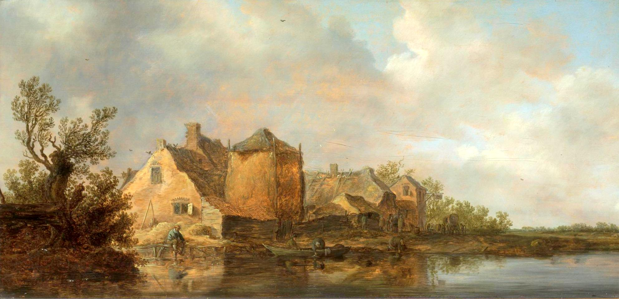 Jan van Goyen – Victoria and Albert Museum CAI.89. Title: River Scene with an Inn. Date: 1630. Materials: oil on oak panel. Dimensions: 40 x 82.5 cm. Inscriptions: VG [monogram] 1630. Nr.: CAI.89. Source: http://collections.vam.ac.uk/item/O132423/river-scene-with-an-inn-oil-painting-goyen-jan-van/. I have changed the light and contrast of the original photo.