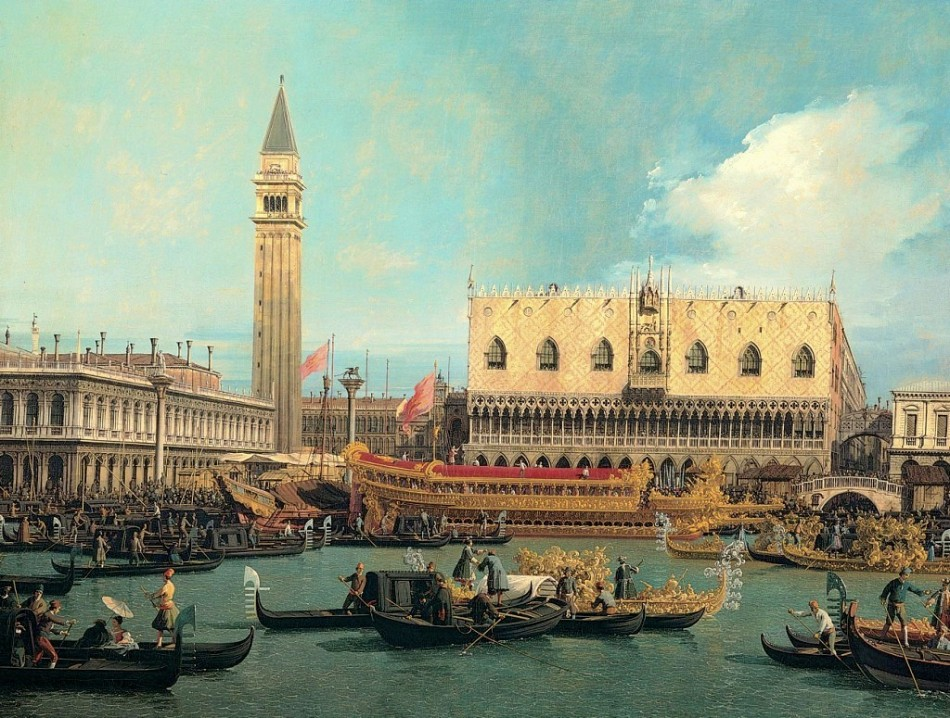 Canaletto – Pinacoteca Giovanni e Marella Agnelli. Title: Il Bucintoro al molo nel giorno dell'Ascensione. Date: 1740. Materials: oil on canvas	. Dimensions: 120.5 x 157 cm. Nr.: ? Source: https://ricardomorin.files.wordpress.com/2014/04/3484233670.jpg. I have changed the light, contrast and colors of the original photo