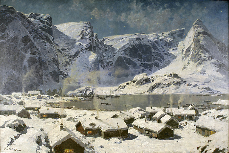 Otto Ludvig Sinding – Nordnorsk Kunstmuseum. Title: Vinter, Reine i Lofoten. Date: 1894. Materials: oil on canvas. Dimensions: ? Source: https://www.flickr.com/photos/kraftgenie/4659934903/in/photostream/.