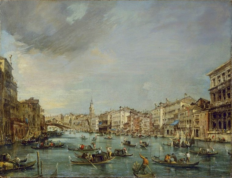 Francesco Guardi – Pinacoteca di Brera. TitleVeduta del Canal Grande verso Rialto. Date: c. 1765. Materials: oil on canvas	. Dimensions: 56 x 75 cm. Nr.: ? Source: http://www.altritaliani.net/IMG/jpg/96-Il-Canal-Grande-verso-Rialto.jpg. I have changed the colors of the original photo.