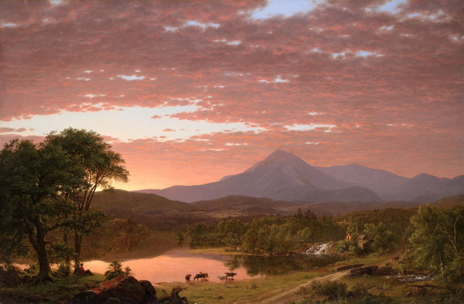 Frederic Edwin Church – Yale University Art Gallery 1969.71. Title: Mt. Ktaadn. Date: 1853. Materials: oil on canvas	. Dimensions: 92.1 x 140.3 cm. Nr.Ș 1969.71. Source: http://artgallery.yale.edu/collections/objects/9156. I have changed the light and contrast of the original photo