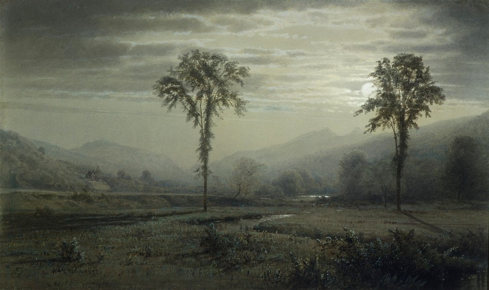 William Trost Richards – Metropolitan Museum of Art 80.1.2. Title: Moonlight on Mount Lafayette, New Hampshire. Date: 1873. Materials: Watercolor, gouache, and graphite on gray-green wove paper. Dimensions: 21.6 x 36 cm. Nr.: 80.1.2. Source: http://www.metmuseum.org/art/collection/search/11900. I have changed the light of the original photo.