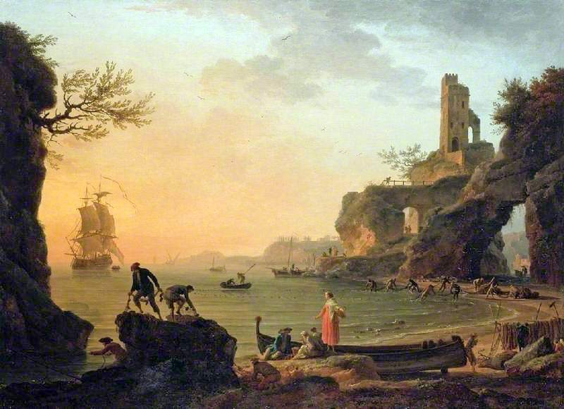 Claude-Joseph Vernet – The Fitzwilliam Musem PD.22-1997. Title: Sunset. Date: 1760. Materials: oil on panel. Dimensions: 96.5 x 134 cm. Inscriptions: J. Vernet f 1760 (lower left). Nr.: PD.22-1997.  Source: http://artuk.org/discover/artworks/sunset-5266#. I have changed the light, contrast and colors of the original photo