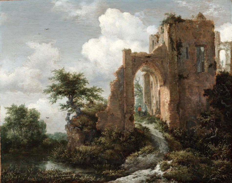 Jacob van Ruisdael – Philadelphia Museum of Art Cat. 564. Title: Entrance Gate of the Castle of Brederode. Date: c. 1655. Materials: oil on panel	. Dimensions: 30.2 x 37.8 cm. Nr.: Cat. 564. Source: http://www.philamuseum.org/collections/permanent/102357.html?mulR=906409215|7. I have changed the light and contrast of the original photo.