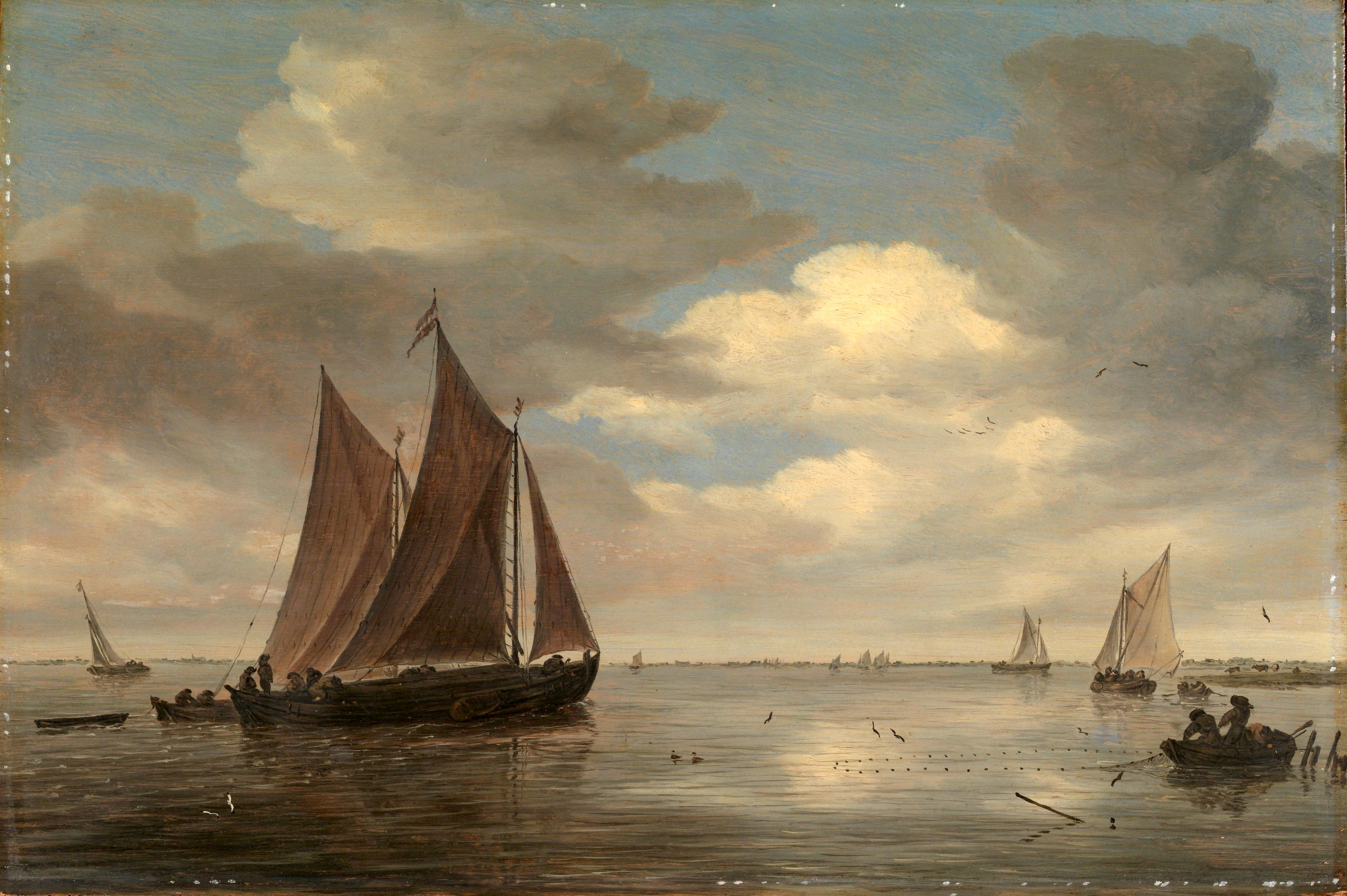 Salomon van Ruysdael – The Metropolitan Museum of Art 2005.331.8. Title: Fishing Boats on a River. Date: early 1660. Materials: oil on wood. Dimensions: 36.2 x 54 cm. Nr.: 2005.331.8. Source: http://images.metmuseum.org/CRDImages/ep/original/DP120419.jpg. I have changed the light and contrast of the original photo.
