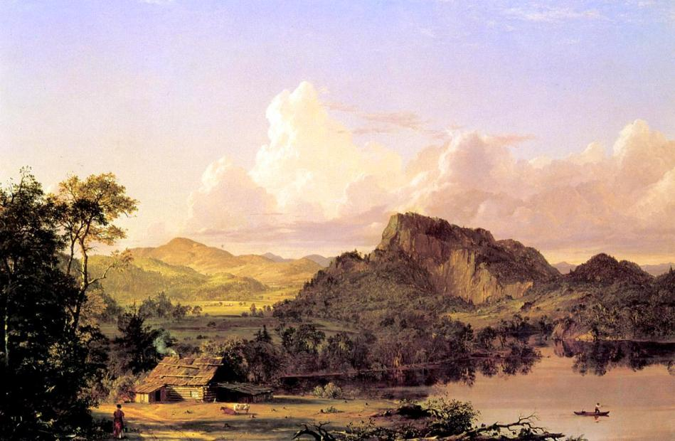 Frederic Edwin Church – Crystal Bridges Museum of American Art 2008.16. Title: Home by the Lake. Date: 1852. Materials: oil on canvas. Dimensions: 81 x 122.6 cm. Nr.: 2008.16. Source: https://en.wikipedia.org/wiki/File:Home_by_the_Lake_Frederic_Edwin_Church.jpg. I have changed the light, contrast and colors of the original photo.