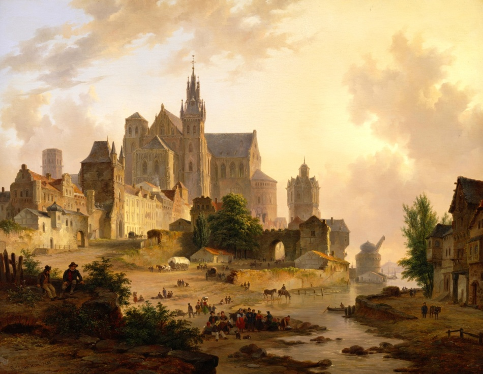 Bartholomeus van Hove – Teylers Museum KS 048. Title: Stadsgezicht aan de Rijn, bij ondergaande zon. Date: 1836. Materials: oil on panel. Dimensions: 58.1 x 75.2 cm. Nr.: KS 048. Source: http://www.teylersmuseum.nl/nl/collectie/schilderijen/ks-048-stadsgezicht-aan-de-rijn-bij-ondergaande-zon-bartholomeus-johannes-van-hove?collection_id=6cc48342dd2a44dab4b7d44d40adc13e&b_start=5. I have changed the light, contrast and colors of the original photo