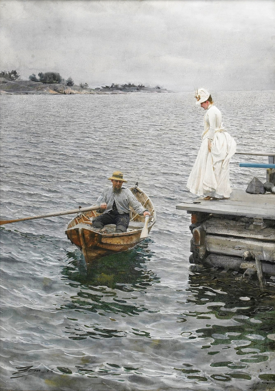Anders Zorn – private collection. Title: Summer pleasure. Date: 1886. Materials: watercolor on paper. Dimensions: 76 x 54 cm. Source: https://commons.wikimedia.org/wiki/File:Sommarn%C3%B6je_(1886),_akvarell_av_Anders_Zorn.jpg. I have changed the contrast of the original photo.