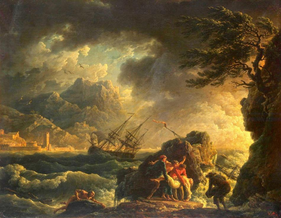 Claude Joseph-Vernet – The Hermitage Museum ГЭ-8160. Title: Shipwreck. Date: 1763. Materials: oil on canvas. Dimensions: 51 x 65 cm. Nr.: ГЭ-8160. Source: http://www.hermitagemuseum.org/wps/portal/hermitage/digital-collection/01.+Paintings/37321/?lng=en. I have changed the light and colors of the original photo.
