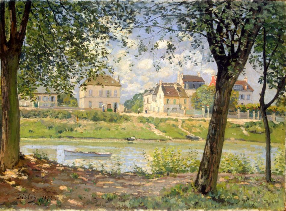Alfred Sisley – The Hermitage Museum ГЭ-9005. Title: Villeneuve-la-Garenne (Village on the Seine). Date: 1872. Materials: oil on canvas. Dimensions: 59 x 80.5 cm. Nr.: ГЭ-9005. Source: http://www.hermitagemuseum.org/wps/portal/hermitage/digital-collection/01.+Paintings/28734/?lng=en. I have changed the light, contrast and colors of the original photo.