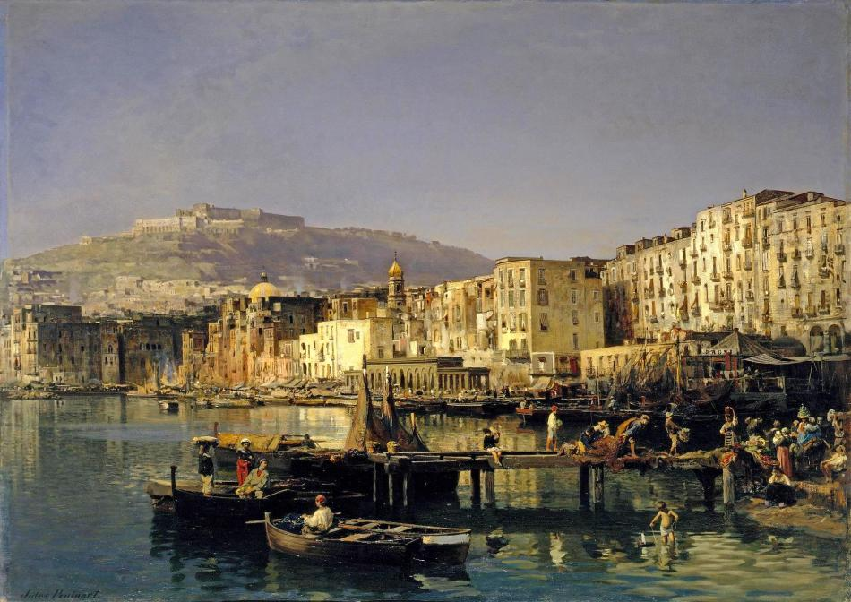 Jules Ruinart de Brimont – The Hermitage Museum ГЭ-7570. Title: View of Naples with Castle Sant' Elmo. Date: late 1860s. Materials: oil on canvas. Dimensions: 102 x 139 cm. Nr.: ГЭ-7570. Source: http://www.hermitagemuseum.org/wps/portal/hermitage/digital-collection/01.+Paintings/38210/?lng=en. I have changed the light and contrast of the original photo.