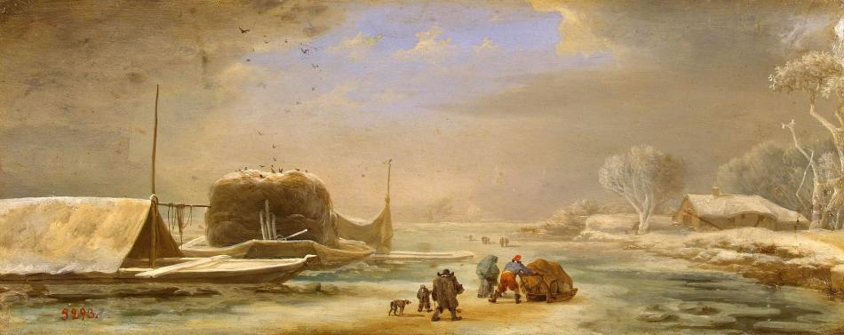 Jan Asselijn – The Hermitage Museum ГЭ-1115. Title: Winter Landscape. Date: second quarter of the 17th c.. Materials: oil on copper	. Dimensions: 15 x 38 cm. Nr.: ГЭ-1115. Source: http://www.hermitagemuseum.org/wps/portal/hermitage/digital-collection/01.+Paintings/45958/?lng=en. I have changed the contrast of the original photo.