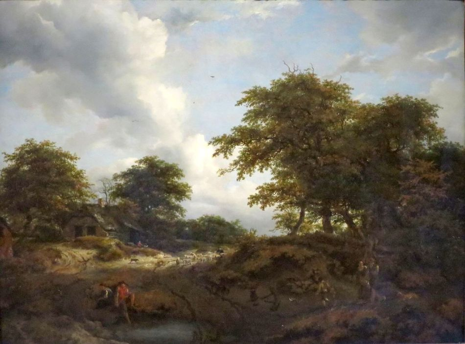 Jacob van Ruisdael – Norton Simon Museum M.1969.33.P. Title: Woody Landscape with a Pool and Figures. Date: c. 1660. Materials: oil on panel. Dimensions: 69.9 x 92.1 cm. Nr.: M.1969.33.P.  Source: https://commons.wikimedia.org/wiki/File:%27Wooded_Landscape_with_a_Pool_and_Figures%27_by_Jacob_van_Ruisdael_and_Nicolaes_Berchem.JPG. I have changed the light and contrast of the original photo
