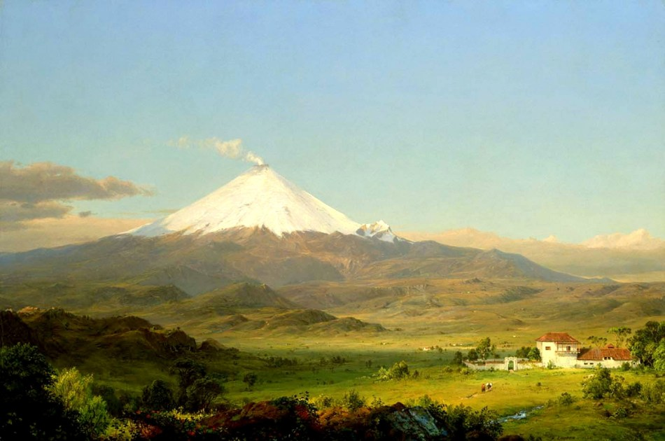 Frederic Edwin Church – Smithsonian American Art Museum 1965.12. Title: Cotopaxi. Date: c. 1726-1727. Materials: oil canvas.  Dimensions: 71.1 x 106.8 cm. Nr.: 1965.12. Source: http://americanart.si.edu/collections/search/artwork/?id=4807. I have changed the light and contrast of the original photo.