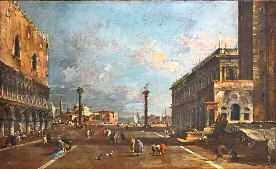 Francesco Guardi – Galleria Giorgio Franchetti alla Ca' d'Oro cat. d.60. Title: La piazzetta verso S. Giorgio. Date: c. 1780s. Materials: oil on canvas. Dimensions: 45 x 72 cm. Nr.: car. d.60. Source: https://www.flickr.com/photos/dalbera/22446355615/sizes/h/. I have changed the light and contrast of the original photo