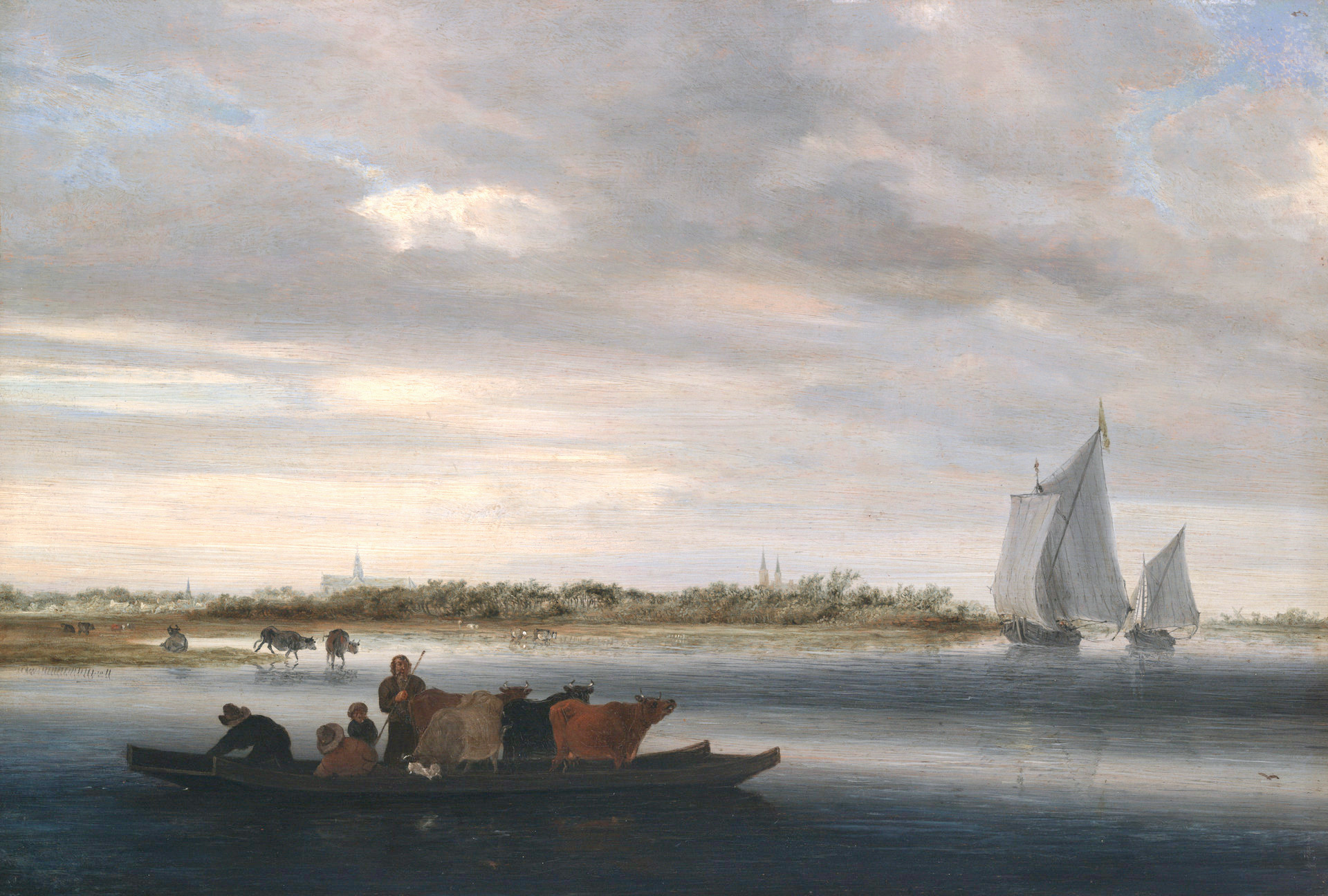 Salomon van Ruysdael – Yale University Art Gallery 1980.12.33. Title: View of Alkmaar. Date: c. 1650. Materials: oil on panel.  Dimensions: 36 x 52 cm. Nr.: 1980.12.33. Source: http://artgallery.yale.edu/collections/objects/24368. I have changed the light and contrast of the original photo.