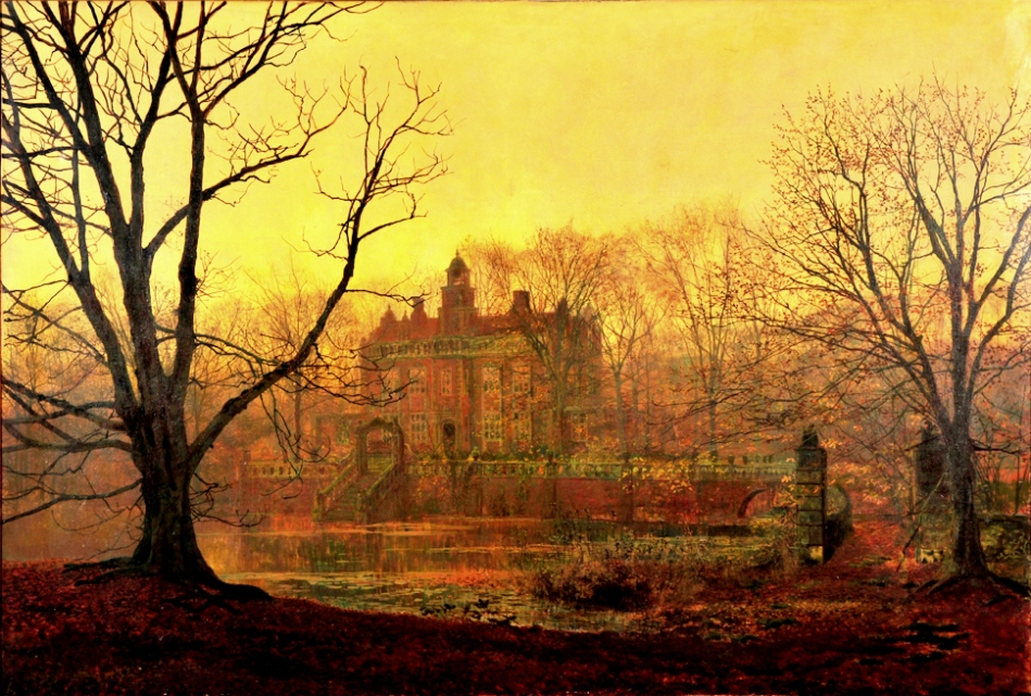 John Atkinson Grimshaw – The Mercer Art Gallery HARAG 53. Title: In the Gloaming. Also known as A Yorkshire Home. Date: 1878. Materials: oil on canvas. Dimensions: 82.9 x 121.9 cm. Nr.: HARAG 53. Source: http://www.harrogate.gov.uk/PublishingImages/AGIntheGloaming_tiff.jpg. I have changed the light, contrast and colors of the original photo.