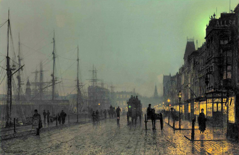 John Atkinson Grimshaw – private collection. Title: Gourock, Near the Clyde Shipping Docks. Date: c. 1880s. Materials: oil on canvas?  Dimensions: 61 x 92.7 cm. Source: http://sutcliffegalleries.com/wp-content/uploads/Atkinson-Grimshaw1.jpg. I have changed the light and contrast of the original photo