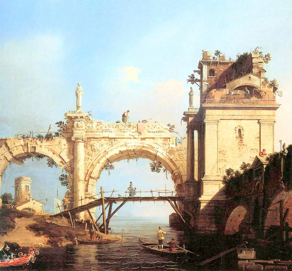 Bernardo Belloto (or Canaletto?) – private collection. Title: Capriccio with ancient ruins. Date: c. 1740-1750. Materials: oil canvas.  Dimensions: ? Source: http://artmight.com/albums/2011-02-07/art-upload-2/c/Canaletto/Canaletto-Canal-Giovanni-Capriccio-and-ruined-arcade-Sun.jpg. I have changed the light of the original photo.