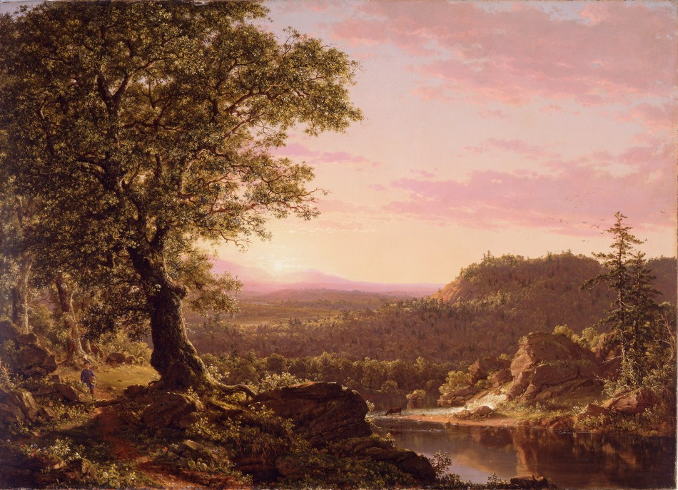 Frederic Edwin Church – private collection. Title: July Sunset, Berkshire County, Massachusetts. Date: 1847. Materials: oil on canvas. Dimensions: 73.7 x 101.6 cm. Source: http://static1.1.sqspcdn.com/static/p/358982/19493806/1397842420140/church+july+sunset.jpg?token=apAegNzibycuxiYZ3SKsRHSUmSs%3D. I have changed the light, contrast and colors of the original photo.