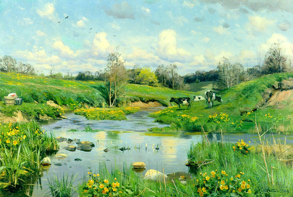 Peder Mørk Mønsted – private collection. Title: Grazing Cows. Date: 1900. Materials: oil on canvas. Dimensions: 42 x 60.4 cm. Source: http://www.artrenewal.org/artwork/736/736/31862/cows_grazing-large.jpg. I have changed the contrast of the original photo.
