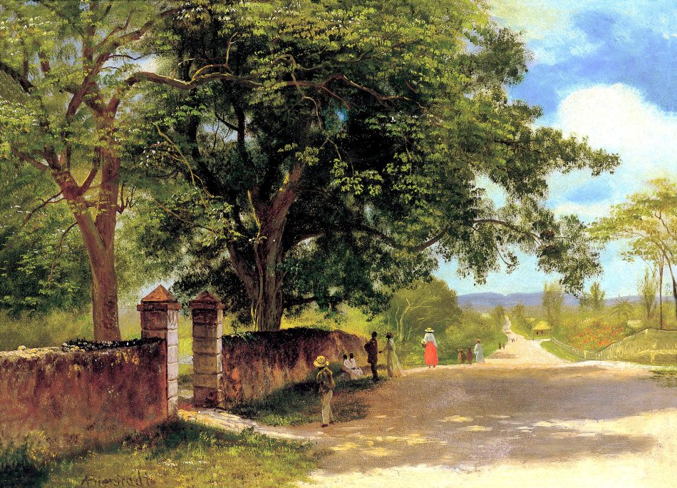 Albert Bierstadt – Museo Thyssen-Bornemisza CTB.1996.19. Title: Street in Nassau. Date: c. 1877-1880. Materials: oil on board upon canvas.  Dimensions: 35.5 x 48.3 cm. Nr.: CTB.1996.19. Source: http://www.museothyssen.org//img/obras_grande/CTB.1996.19.jpg. I have changed the light of the original photo.