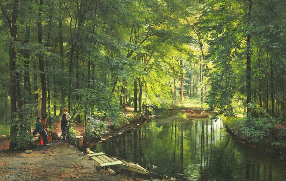 Carl Frederik Peder Aagaard – private collection. Title: A Stream in the Spring Woods. Date: 1885. Materials: oil on canvas. Dimensions: 109 x 163 cm. Sold by Bruun Rasmussen in Copenhagen, on September 16, 2014. Source: http://www.the-athenaeum.org/art/display_image.php?id=710369. I have changed the light of the original photo.