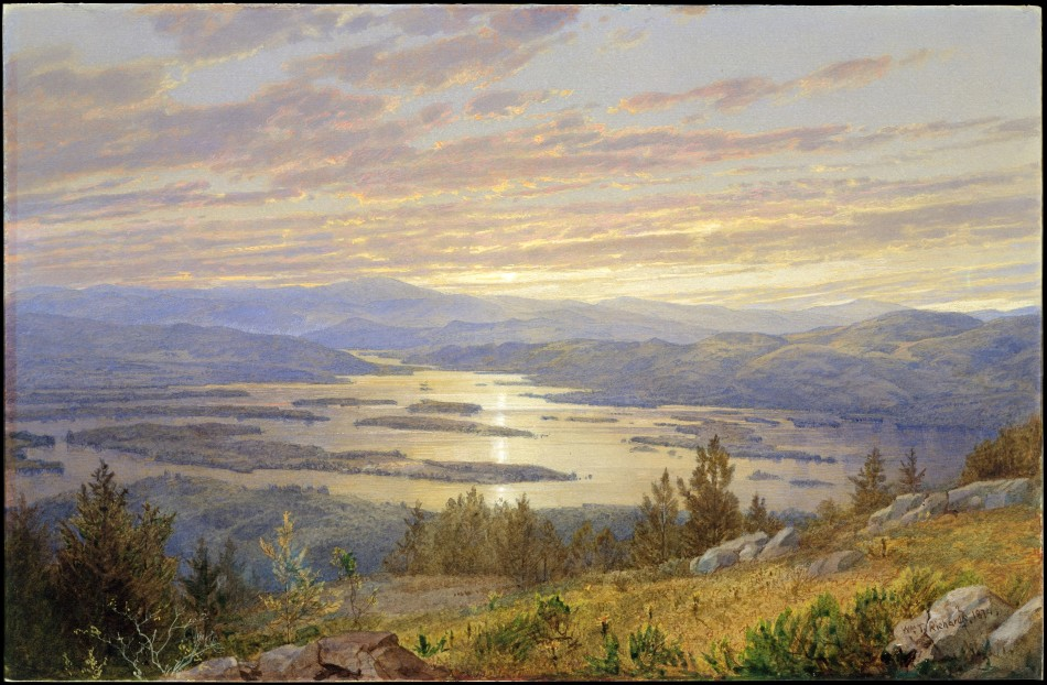William Trost Richards – The Metropolitan Museum of Art 80.1.6. Title: Lake Squam from Red Hill. Date: 1874. Materials: Watercolor, gouache, and graphite on light gray-green wove paper. Dimensions: 22.5 x 34.4 cm. Inscriptions: Wm (m underscored) T. Richards. 1874 (lower right). Nr.: 80.1.6. Source: http://www.metmuseum.org/art/collection/search/11897. I have changed the contrast of the original photo.