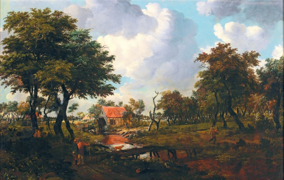 Meindert Hobbema – private collection. Title: A Landscape with a Bridge. Date: c, 1663. Materials: oil on panel. Dimensions: 50 x 75 cm. Auctioned by Dorotheum, in Vienna, on April 19, 2016. Source: http://media.mutualart.com/Images/2016_04/07/07/075811271/ec07c6d1-3536-472f-922a-6f4204803d53.Jpeg. I have changed the light, contrast and colors of the original photo.